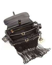 Prada Fringed Nylon Leather Corsaire Messenger Bag