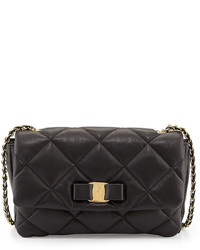 Salvatore Ferragamo Gelly Quilted Leather Shoulder Bag Black