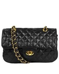 Kathie Fashion Paige Quilted Shoulder Bag Black