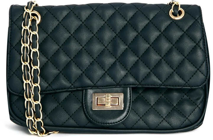 Liquorish Quilted Bag With Long Chain Strap Black
