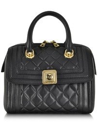 Love Moschino Black Quilted Eco Leather Satchel Wshoulder Strap