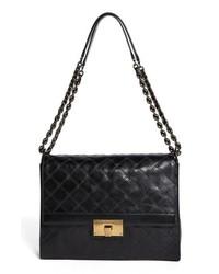 Marc Jacobs The Lads Leather Shoulder Bag Black Antique Gold