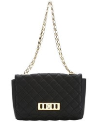 Michael Kors Michl Kors Black Diamond Quilted Leather Convertible Shoulder Bag