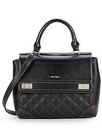 Nine West Flip Lock Double Flap Faux Leather Satchel