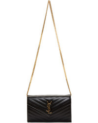 Saint Laurent Black Quilted Leather Monogramme Chain Clutch