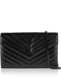 Saint Laurent Monogramme Quilted Textured Leather Shoulder Bag