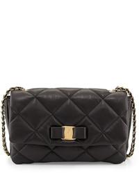 Salvatore Ferragamo Gelly Quilted Leather Shoulder Bag Black