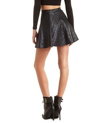 8254268482 Quilted Faux Leather Skater Skirt. Black Quilted Leather Skater Skirt by Charlotte  Russe
