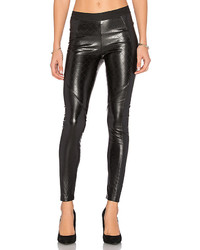 Black Quilted Leather Skinny Pants