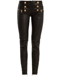 Military button skinny leg leather biker trousers medium 6752762