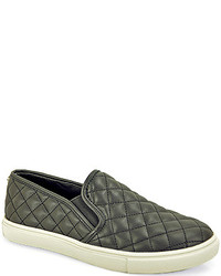 Black Quilted Leather Slip-on Sneakers