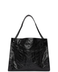 Saint Laurent Black Large Quilted Tote Bag