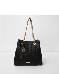 River Island Black Quilted Chain Slouch Tote Bag