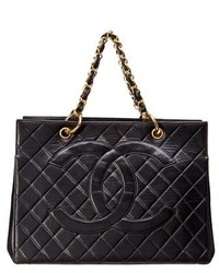 Chanel Black Quilted Lambskin Leather Grand Shopper Tote
