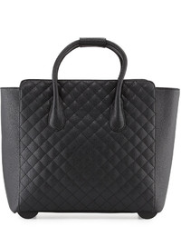 Neiman Marcus Camilla Quilted Faux Leather Rolling Bag Black