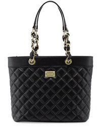 St. John Collection Quilted Leather Tote Bag Blackgold