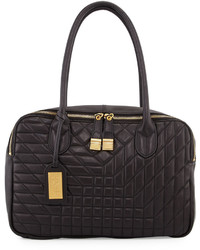 Badgley Mischka Coralie Quilted Leather Tote Bag Black