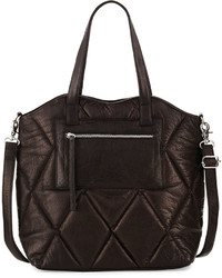 Day Mood Abana Quilted Leather Tote Bag Black