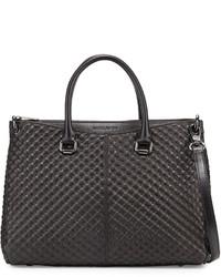 Charles Jourdan Macon Quilt Embossed Leather Tote Bag Black