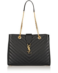 Saint Laurent Monogramme Large Quilted Textured Leather Tote Black