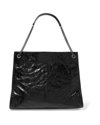 Saint Laurent Niki Large Quilted Crinkled Glossed Leather Tote