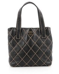 Chanel Pre Owned Surpique Tote Quilted Leather Small