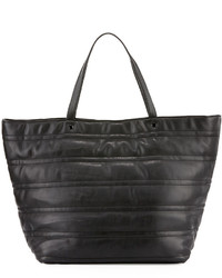 Neiman Marcus Quilted Faux Leather Tote Bag Black