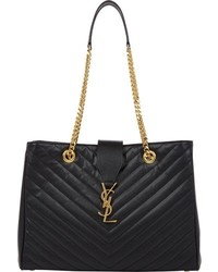 Saint Laurent Quilted Monogram Tote Black