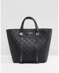 Marc B Quilted Tote Bag With Chain Detail In Black