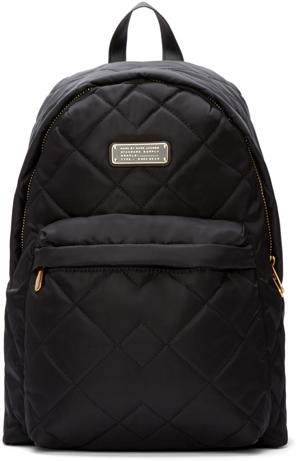 Black Nylon Quilted Crosby Backpack