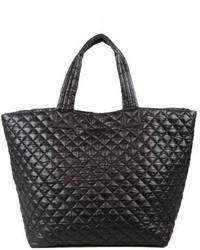 Large metro quilted oxford nylon tote black medium 619034