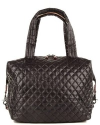 Large sutton quilted oxford nylon shoulder tote black medium 619035