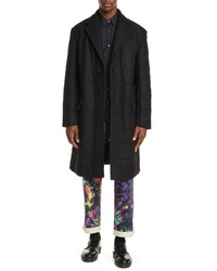 Dries Van Noten Quilted Wool Blend Top Coat