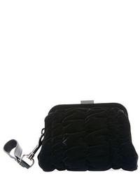 Black Quilted Velvet Clutch