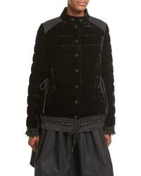 Moncler Beatrice Velvet Quilted Coat Black