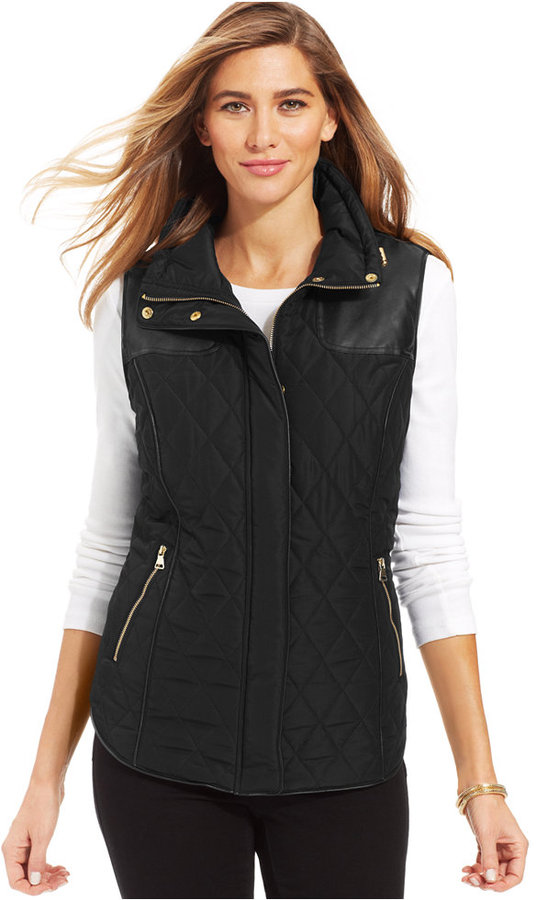 Style&co. Sport Faux Leather Quilted Puffer Vest | Where to buy ... : leather quilted vest - Adamdwight.com
