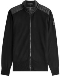 Black Quilted Zip Sweater