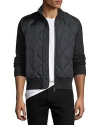 Moncler Quilted Nylon Wool Blend Zip Front Cardigan