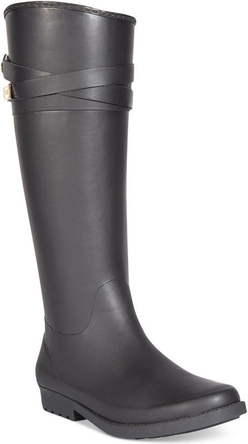 08379a75e05f21 ... Black Rain Boots Tommy Hilfiger Coree Tall Rain Boots ...