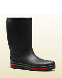 Gucci Black Rubber Rain Boot