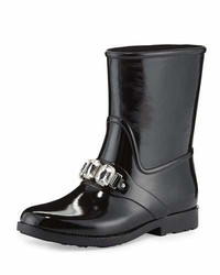 MICHAEL Michael Kors Michl Michl Kors Leslie Jeweled Short Rain Boot Black