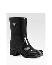 Prada Short Logo Rain Boots Nero Black