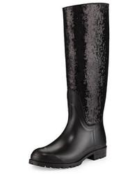 Saint Laurent Sequined Rubber Rain Boot Noir