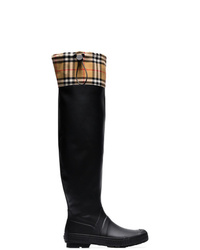 Burberry Vintage Check And Rubber Knee High Rain Boots
