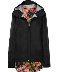 Junya Watanabe Hooded Layered Shell And Floral Print Tte Jacket