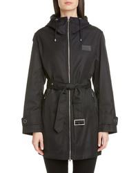 Burberry Knighton Logo Patch Hooded Raincoat