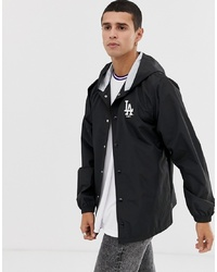 New Era Mlb La Dodgers Hooded Coach Jacket With In Black