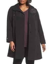 Gallery Plus Size Long Silk Look Raincoat