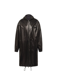 Prada Reversible Hooded Leather Coat