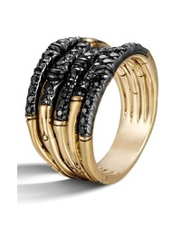 John Hardy Bamboo Lava Wide Pave Sapphire Stack Ring